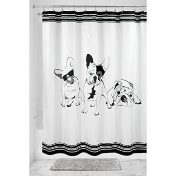 interdesign french bulldog duschvorhang vorhang f r badewanne und dusche 183 0 cm x 183 0 cm. Black Bedroom Furniture Sets. Home Design Ideas