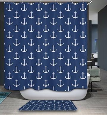 kisy anchor wasserdicht bad duschvorhang nautischen anker gestreift klassischen polyester. Black Bedroom Furniture Sets. Home Design Ideas