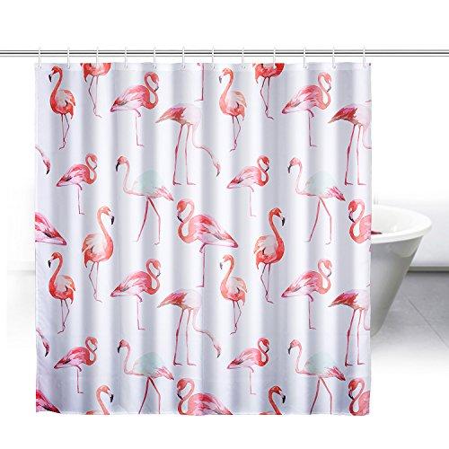 zewoo flamingos duschvorhang aus stoff mit 12. Black Bedroom Furniture Sets. Home Design Ideas
