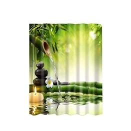 180x180cm Wasserdicht Polyester Bad Vorhang Duschvorhang Panel Dekor mit Haken - Bambus -