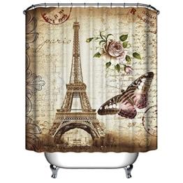 DAILY 182,9x 182,9cm Retro-Eiffelturm in Paris Wasserdichter Hellbrauner Duschvorhang aus Polyestergewebe mit Schmetterlings und Blumen Badezimmerzubehör Hauptdekoration für den Badezimmer -