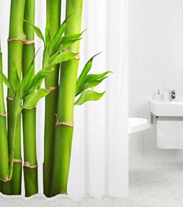 Duschvorhang Bambus 180 x 200 cm, hochwertige Qualität, 100% Polyester, wasserdicht, Anti-Schimmel-Effekt, inkl. 12 Duschvorhangringe -