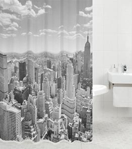 Duschvorhang Skyline New York 180 x 180 cm, hochwertige Qualität, 100% Polyester, wasserdicht, Anti-Schimmel-Effekt, inkl. 12 Duschvorhangringe -