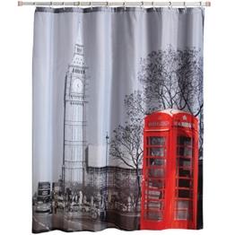 MSV 140598 Duschvorhang, Polyester, Motiv London, 180x200x0,1cm -