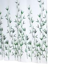 Ridder 473050-350 Duschvorhang Textil ca. 180 x 200 cm, Bambus grün inklusive Ringe -