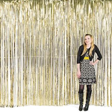 Vorhang gold metalic Streifenvorhang Türvorhang Raumdekoration Silvester Party Deko Palandi® -