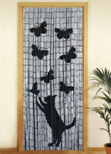 Wenko 5123004500 Bambusvorhang Katze und Schmetterling, Bambus,  cm, Mehrfarbig -