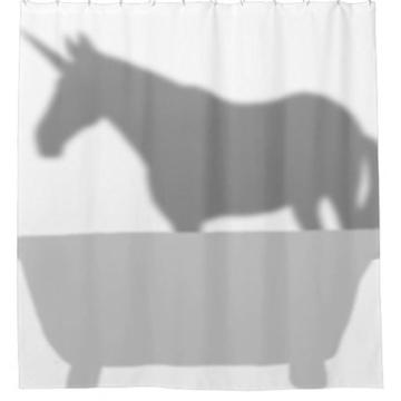 ZiChuangD Duschvorhang, Motiv: Einhorn in der Badewanne -