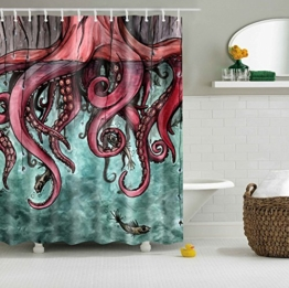 Colorfulworld Digital Printed Antibacterial Mildew Proof 100% Polyester Fabric water resistant Shower Curtain Anti-Mould Washable,150*180cm (Comic octopus) -