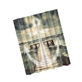 180x180cm Wasserdicht Polyester Bad Duschvorhang Panel Dekor mit Haken , 100% Polyester - Anker und Meer, 180x180cm - 1