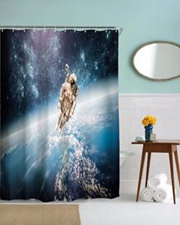 """A.Monamour Astronaut Wandern Im Weltraum Blaue Galaxie Planetthema Grafikdruck Wasserdichtes Gewebe Polyester Duschenvorhang Für Badzusatz 180X200 Cm / 72 """"X78"""" - 1"""
