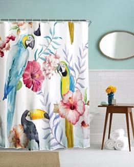 """A.Monamour Niedliche Vögel Papagei Familie Liebe Blumen Fotografie Druck Home Décor Bad Wasserdichte Duschvorhänge Textil 150X180 Cm / 60 """"X72"""" - 1"""