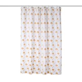axentia Duschvorhang Einhorn weiß/gold, hochwertige Duschgardine blickdicht 180 x 180 cm, wasserabweisender Badewannenvorhang, waschbarer Vorhang für Dusche und Bad - 1
