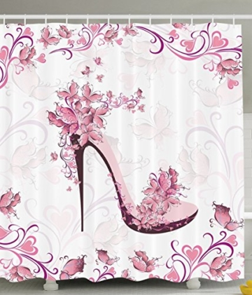 BBFhome Duschvorhang 180 x 180 CM Punk und Lila Frauen Schuhe mit Rosen und Herzen und Schmetterlinge fliegen Polyester Gewebe Badezimmer Set mit Haken - 1