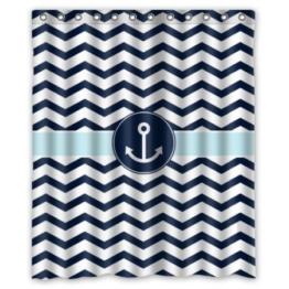 BBFhome Hem Gewichte Vorhang Duschvorhang 168x180 CM Badezimmer Marine Blau und Weiß Chevron mit Wasser Anker Muster Dusche Haken inklusive Polyester - 1
