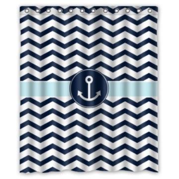 bbfhome hem gewichte vorhang duschvorhang 168x180 cm badezimmer marine blau und wei chevron mit. Black Bedroom Furniture Sets. Home Design Ideas