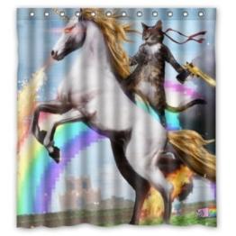 BBFhome Personalisierte Lustige Einhorn und Katze Duschvorhang, inklusive Dusche Ringe 100% Polyester Wasserdicht 168x180 cm - 1