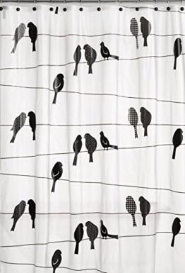 BBFhome Vögel auf einem Draht Duschvorhang 168 x 180 cm Schwarz - 1