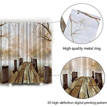 Duschvorhang 180x180 cm, ZSZT Anti-Bakteriell Wasserabweisender Stoff PEVA mit 12 Duschvorhangringe für Badezimmer ( Hölzern Brücke ) Geschenk Duschhaube - 3