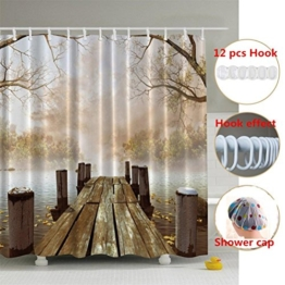 Duschvorhang 180x180 cm, ZSZT Anti-Bakteriell Wasserabweisender Stoff PEVA mit 12 Duschvorhangringe für Badezimmer ( Hölzern Brücke ) Geschenk Duschhaube - 1