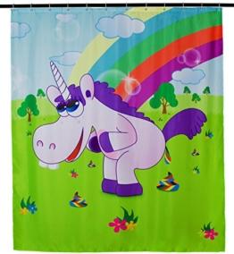"""Duschvorhang mit Comic Motiv - Bunt """"Drunky Unicorn"""" Design 200 x 180 cm - Dusch-Vorhang als Geschenkidee - Grinscard - 1"""