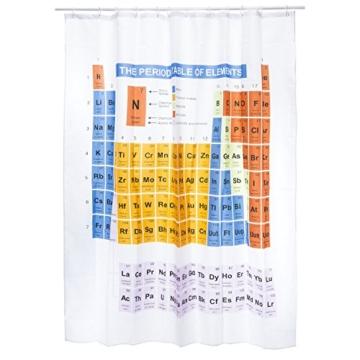 Duschvorhang Periodensystem textil | PSE Badewannen-Vorhang 100% Polyester | Badezimmer Badewanne Anti Schimmel 180 x 180 cm | Nerd Geschenke | Deko wie Big Bang Theory Chemie Elemente Breaking Bad - 3