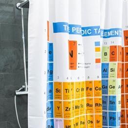 Duschvorhang Periodensystem textil | PSE Badewannen-Vorhang 100% Polyester | Badezimmer Badewanne Anti Schimmel 180 x 180 cm | Nerd Geschenke | Deko wie Big Bang Theory Chemie Elemente Breaking Bad - 1