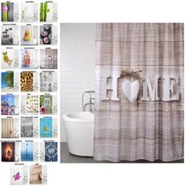 Duschvorhang, viele schöne Duschvorhänge zur Auswahl, hochwertige Qualität, inkl. 12 Ringe, wasserdicht, Anti-Schimmel-Effekt (Home, 180 x 200 cm) - 1