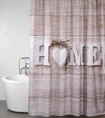 Duschvorhang, viele schöne Duschvorhänge zur Auswahl, hochwertige Qualität, inkl. 12 Ringe, wasserdicht, Anti-Schimmel-Effekt (Home, 180 x 200 cm) - 2