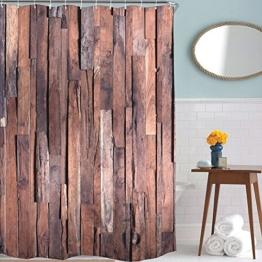 exoticbuy Holz Plank Muster Wasserdicht Duschvorhang mit Haken, Polyester, multi, 180x200cm - 1