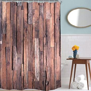exoticbuy holz plank muster wasserdicht duschvorhang mit haken polyester multi 180x200cm. Black Bedroom Furniture Sets. Home Design Ideas
