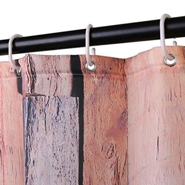 exoticbuy Holz Plank Muster Wasserdicht Duschvorhang mit Haken, Polyester, multi, 180x200cm - 6
