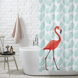 FuXing PEVA Duschvorhang Wasserdicht und Mildewproof Flamingo Digital Gedruckt Badvorhang Badezimmer Duschvorhang 180 x 200 cm - 1