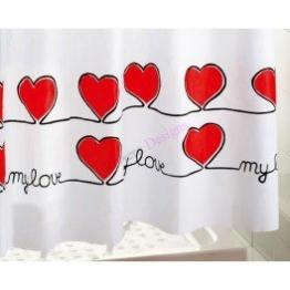 Gedy rot Herzen Duschvorhang, extralang, 180x 200cm & Ringe - 1