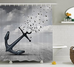 Duschvorhang mit Anker- und Seefahrt-Motiv bei Muschelvorhang.de
