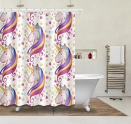 Herz Stern Karikatur Einhorn, Duschvorhang für Mädchen, 150W x180H CM, wasserdicht, Polyester Stoff, Bad Duschvorhang, gelb, rot, lila - 1