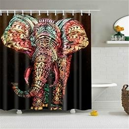 HROOME Wasserdichter Duschvorhänge Anti Schimmel 180x180cm Bunter Elefantdruck Badezimmer Duschvorhang Set Mit 12 Haken 150X180cm (180*180CM, Elephant) - 1