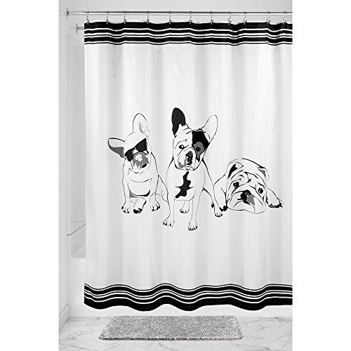 interdesign french bulldog duschvorhang vorhang f r. Black Bedroom Furniture Sets. Home Design Ideas