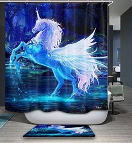 Izielad Tier Einhorn Stoff Duschvorhang Wasserdichtes Badezimmer Dekor - 1