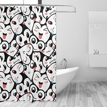 jstel Decor Duschvorhang Herz Emoji-Muster Print 100% Polyester Stoff Vorhang für die Dusche 152,4x 182,9cm für Home Badezimmer Deko Dusche Bad Vorhänge - 2