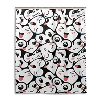 jstel Decor Duschvorhang Herz Emoji-Muster Print 100% Polyester Stoff Vorhang für die Dusche 152,4x 182,9cm für Home Badezimmer Deko Dusche Bad Vorhänge - 1