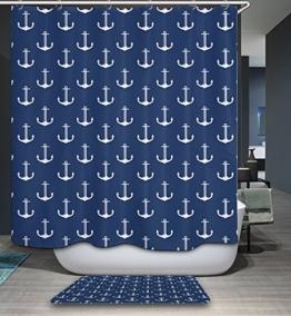 kisy Anchor Wasserdicht Bad Duschvorhang nautischen Anker gestreift klassischen Polyester schimmelt nicht Baby Teens Badezimmer Dusche Vorhang Standard Größe 182,9x 182,9cm dunkelblau - 1