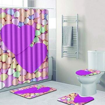 KKY-ENTER Kreative Mode 3D Stereo Lila Kleine Liebe Herz Muster Badezimmer Wasserdicht Duschvorhang Bad Wc Dreiteilige Set Bad Antirutschmatte (Duschvorhang + Bad Matte + Sockel Matte + Wc Sitzbezug Matte) ( größe : A ) - 1