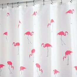 mDesign Duschvorhang mit Flamingomuster - ideales Badzubehör mit perfekten Maßen: 183 cm x 183 cm - langlebige Duschgardine - Farbe: grau / pink - 1