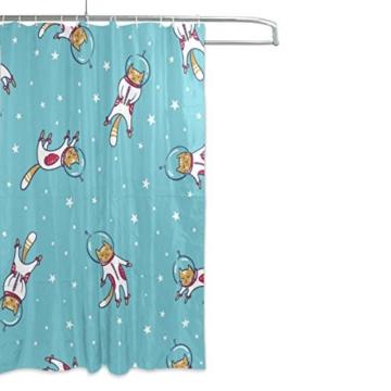 My Daily Astronaut Cat Cartoon Duschvorhang 152,4x 182,9cm, schimmelresistent & Wasserdicht Polyester Dekoration Badezimmer Vorhang - 2