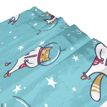 My Daily Astronaut Cat Cartoon Duschvorhang 152,4x 182,9cm, schimmelresistent & Wasserdicht Polyester Dekoration Badezimmer Vorhang - 3