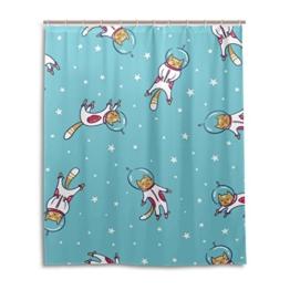 My Daily Astronaut Cat Cartoon Duschvorhang 152,4x 182,9cm, schimmelresistent & Wasserdicht Polyester Dekoration Badezimmer Vorhang - 1