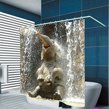 nibesser duschvorhang anti schimmel wasserdichter textil duschvorhang elefant digitaldruck mit. Black Bedroom Furniture Sets. Home Design Ideas