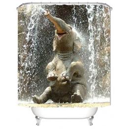 Nibesser Duschvorhang Anti-Schimmel wasserdichter Textil Duschvorhang Elefant Digitaldruck mit 12 Duschvorhangringe für Badezimmer (180cmx200cm) - 1