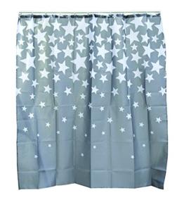 Out of the blue 190400 grauer Polyester-Duschvorhang mit weißen Sternen - 1